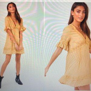 Darling Mini Dress Mustard - PrincessPolly